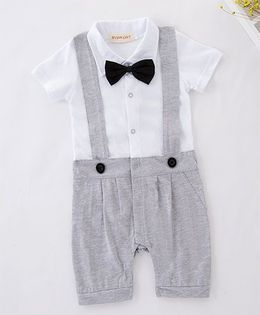 Pre Order - Dells World Gallis Attached Romper With Bow - Grey & White