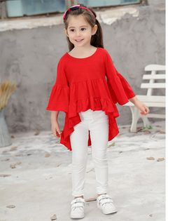 Pre Order - Awabox Ruffle High Low Top - Red