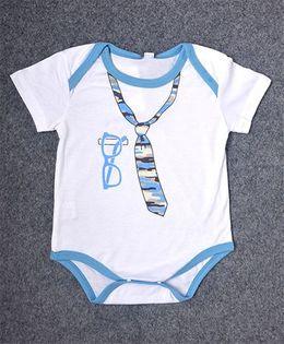 Pre Order - Superfie Camouflage Tie Print Onesie - White & Turquoise Blue