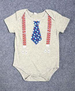 Pre Order - Superfie Tie & Suspenders Print Onesie - Off White