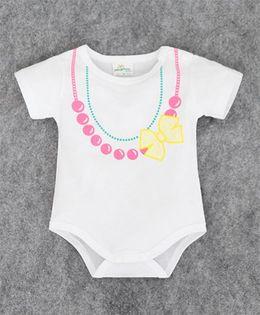 Pre Order - Superfie Necklace Print Onesie - White & Pink