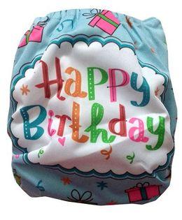 Chuddybuddy Cloth Diaper With Insert Happy Birthday Print - Blue