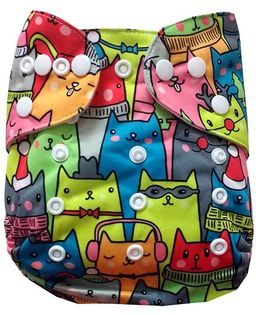 Chuddybuddy Cloth Diaper With Insert Multicolor Cats Print - Multicolor