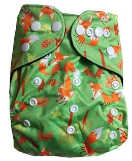 Chuddybuddy Double Gusset Charcoal Bamboo Diaper With Insert Inquisitive Fox Print - Green