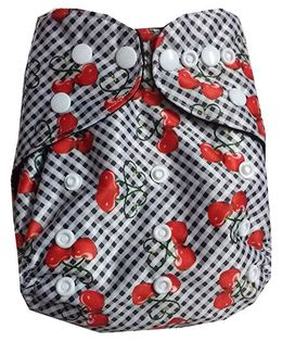 Chuddybuddy Double Gusset Charcoal Bamboo Diaper With Cherries On Top Fox Print - White
