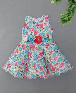 Blue Leaf	Floral Design Dress - Blue