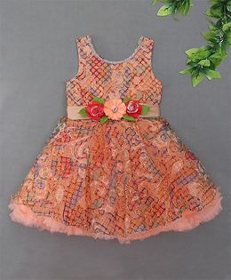 Blue Leaf 3 to 4 Y Peach Blue Leaf Printed Flared Dress - Peach