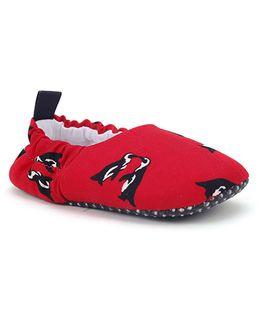 Jute Baby Booties Penguin Design - Red Black