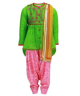 Tiber Taber Embroidered Gota Suit - Green & Pink