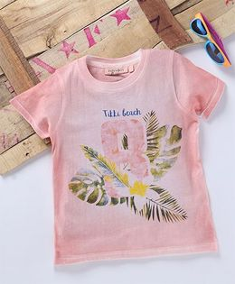 Tonyboy Leaf Printed Half Sleeve T-Shirt - Peach