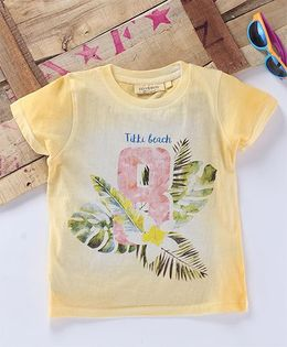 Tonyboy Leaf Printed Half Sleeve T-Shirt - Yellow