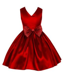 Pink Wings Summer Party Dress With Bow At Waist Line - Cherry Red