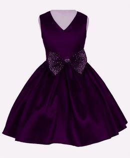 Pink Wings Summer Party Dress With Bow At Waist Line - Dark Purple