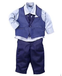 Robo Fry Three Piece Party Suit With Tie - Blue
