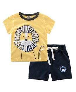 Superfie Lion Printed Summer Set - Yellow