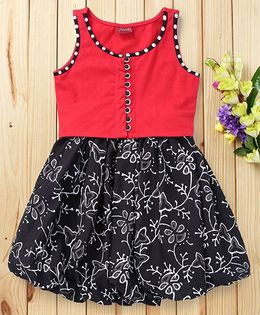 Twisha Sleevesless Top & Printed Skirt Set - Black