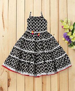 Twisha Chevron Print Tiered Tie Up Dress - Black