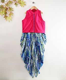 Twisha Sleeveless Jersey Top & Dhoti Pants Set - Blue