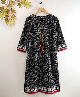 Twisha Printed Kurta - Black
