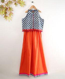 Twisha Printer Top & Palazzo Set - Indigo & Orange
