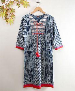 Twisha Full Sleeves Printed Kurta - Indigo