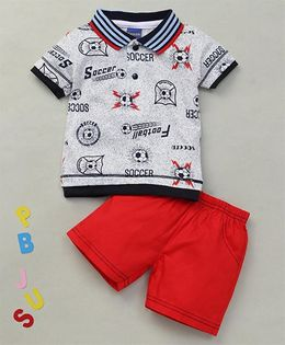 Happy Life Soccer Printed Polo T-Shirt & Shorts Set - White & Red
