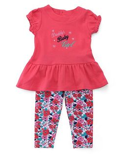 Sarah And Sherry Daddy Baby Girl Print Top With Leggings - Pink