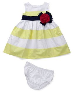 Sarah And Sherry Rose Applique Dress With Bloomer - Yellow & White