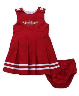 Sarah And Sherry Flower Design Dress & Bloomer Set - Red