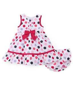 Sarah And Sherry Polka Dot Print Dress With Bloomer - White & Pink