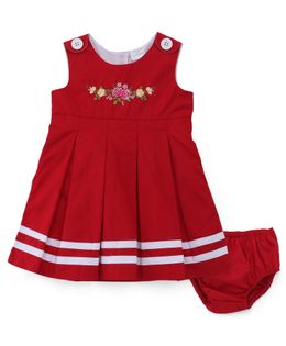 Sarah And Sherry Flower Embroidered Dress With Bloomer - Red