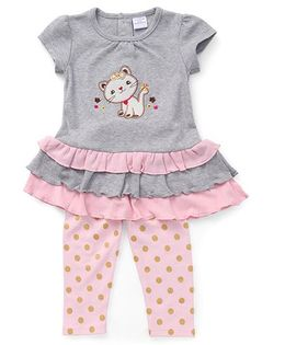 Sarah And Sherry 2 Pc Cat Applique Tunic & Polka Legging Set - Pink & Grey