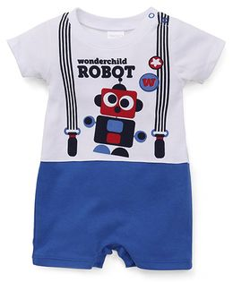 Starters By Wonderchild Robot Print Romper - White & Blue