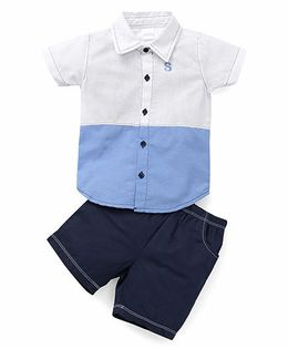Starters By Wonderchild 2 Piece Shirt & Shorts Set - White & Blue