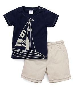 Starters By Wonderchild Sailor T-Shirt & Shorts Set - Navy & Beige