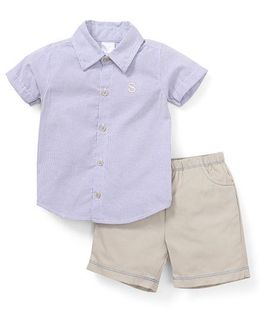 Starters By Wonderchild Stripes Print Shirt & Shorts Set - Blue & Grey
