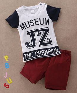 Starters By Wonderchild Graphic T-Shirt & Shorts Set - White & Maroon