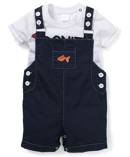 Starters By Wonderchild Fish Embroidery Tee & Dungaree Set - White & Navy Blue