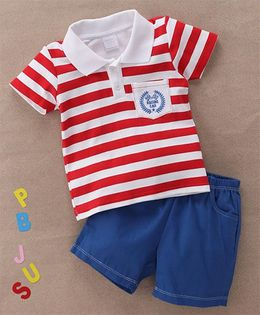 Starters By Wonderchild Stripes Polo T-Shirt & Shorts Set - White & Blue