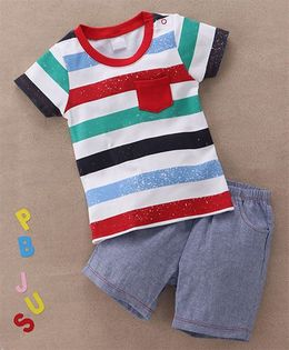 Starters By Wonderchild Stripes Crew Neck T-Shirt & Shorts Set - White & Blue