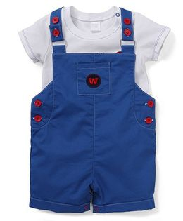 Starters By Wonderchild Robot Print Tee & Dungaree Set - White & Blue