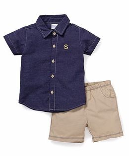 Starters By Wonderchild 2 Pc Shirt & Shorts Set - Navy & Beige