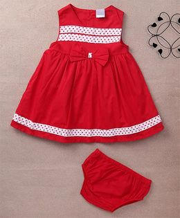 Starters By Wonderchild Dot Print Dress With Bow & Bloomer - Red
