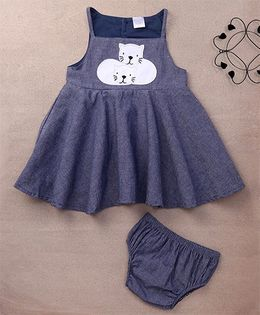 Starters By Wonderchild Cat Print Dress With Bloomer - Grey