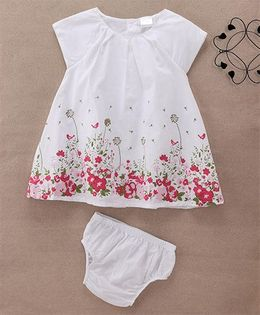 Starters By Wonderchild Flower Print Dress With Bloomer - White
