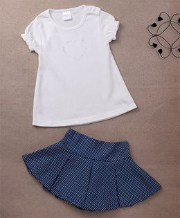 Starters By Wonderchild 2 Pc Heart Top & Polka Printed Skirt Set - White & Blue