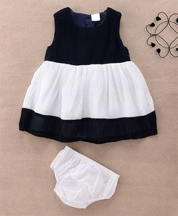Starters By Wonderchild Casual Dress With Bloomer - Navy Blue & White