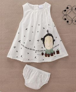 Starters By Wonderchild Child Face Print Dress With Bloomer - White