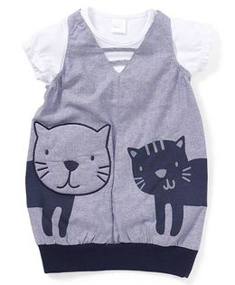 Starters By Wonderchild Cat Print Dress With Tee - Grey