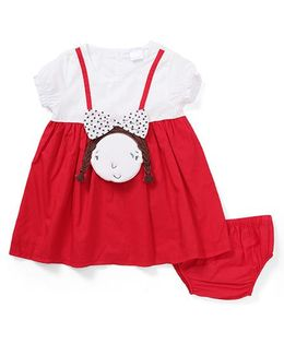 Starters By Wonderchild Girl Face Applique Dress With Bloomer - Red